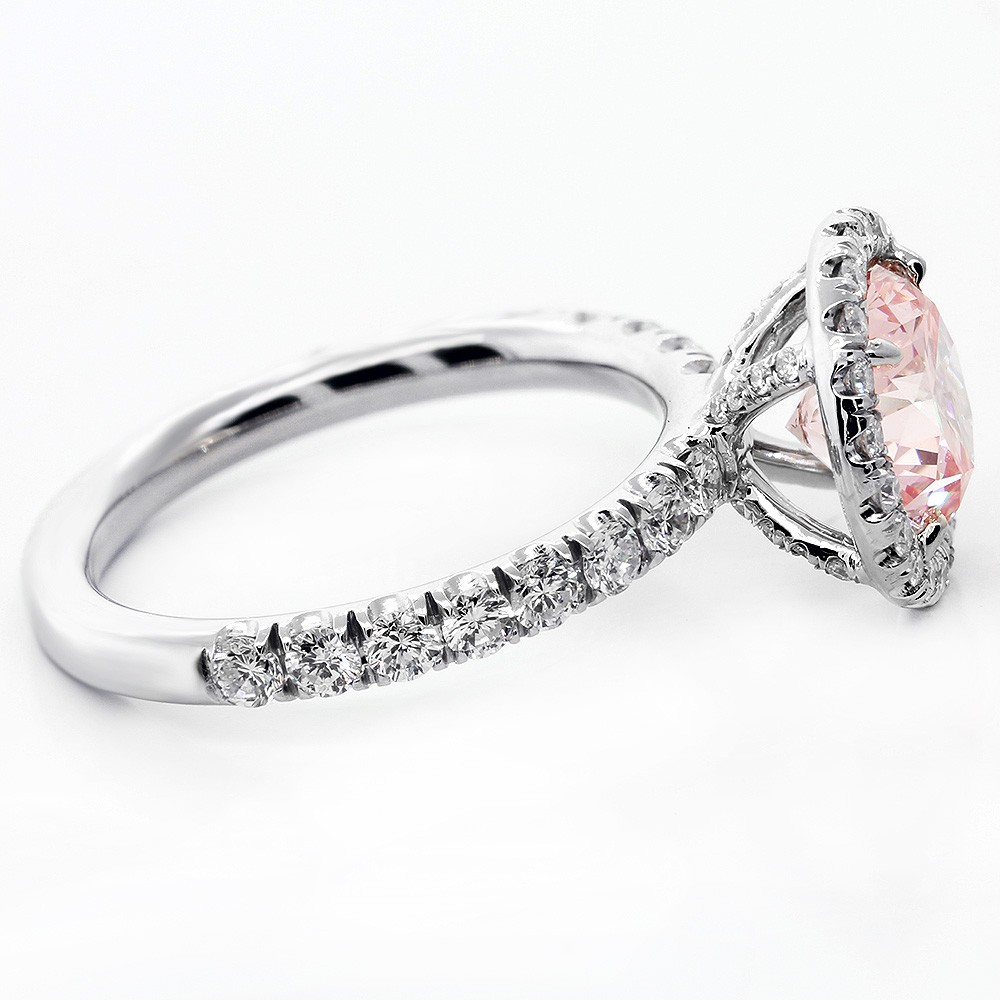 2 07 Cts Round Cut Vivid Pink Diamond Engagement set in Platinum Cheap Diamon