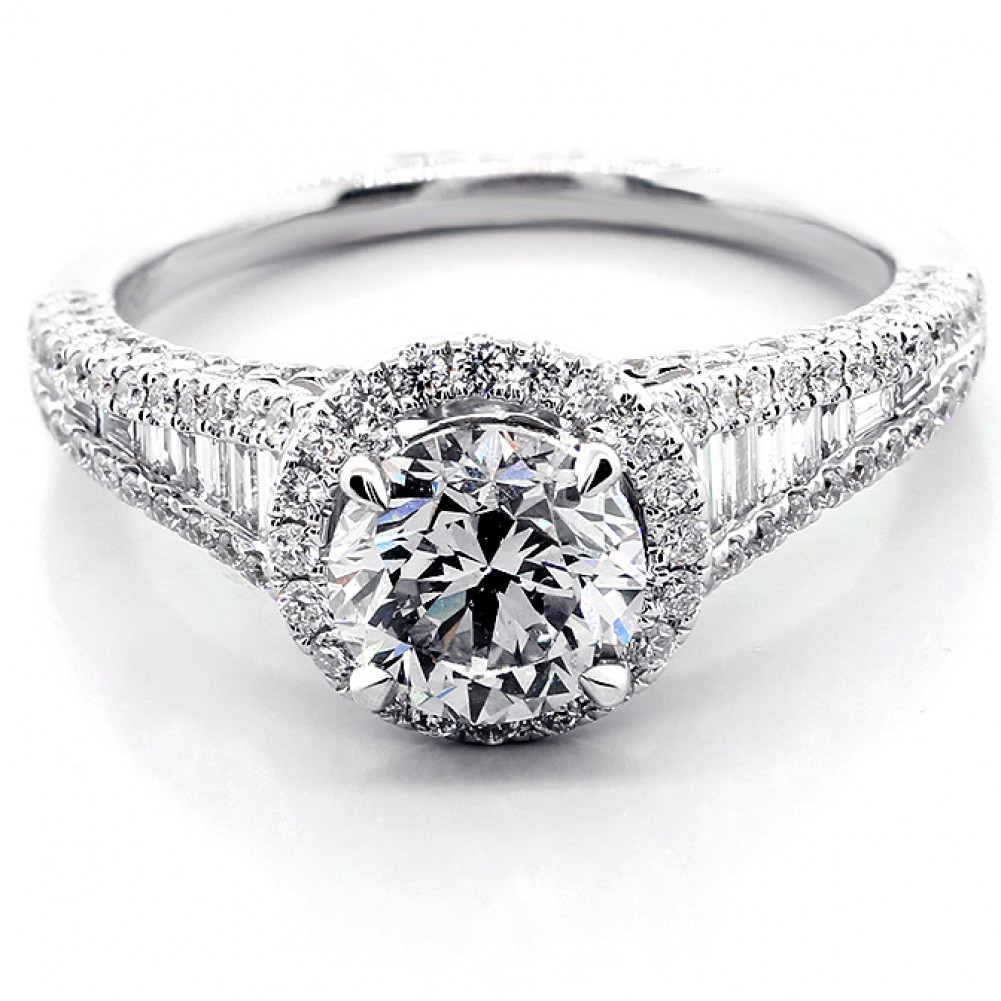 2 13 Cts Round Cut Diamond Halo Engagement Ring set in 18K White Gold Cheap D