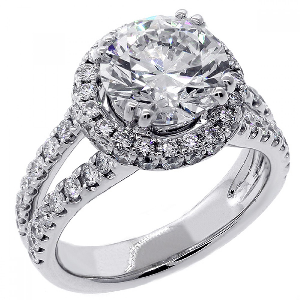 3 21 Cts Round Cut Halo Diamond Engagement Ring Set in 18K White Gold Cheap D