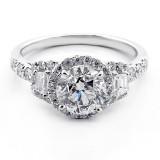 2.40 Cts three stone diamond engagement ring set in 18K white gold