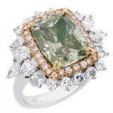 7.74 CTS LIGHT GREEN CUSHION CUT DIAMOND ENGAGEMENT RING SET IN 18K WHITE GOLD