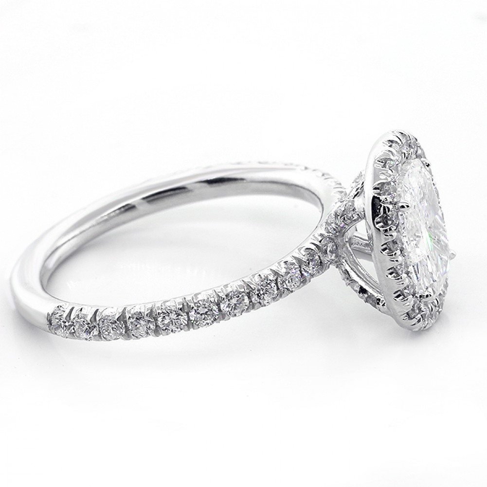 1 92 CTS OVAL CUT DIAMOND HALO ENGAGEMENT RING SET IN PLATINUM Cheap Diamond