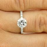 1.85 CTS ROUND CUT DIAMOND ENGAGEMENT RING SET IN 18K WITE GOLD