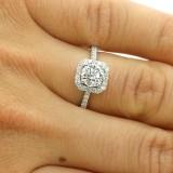 1.00 CTS CE DIAMOND HALO ENGAGEMENT RING SET IN 18K WHITEGOLD