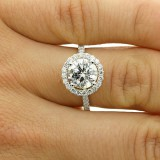 2.84 CTS ROUND CUT DIAMOND HALO ENGAGEMENT RING SET IN 18K WHITE GOLD