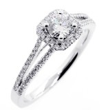 0.61 CTS ROUND CUT DIAMOND  HALO ENGAGEMENT RING SET IN 18K WHITE GOLD