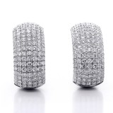 5.30ctw Round Cut Diamond Hoop Pave Earrings 18K White Gold