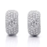 2.82ctw Round Cut Diamond Hoop Pave Earrings 18K White Gold