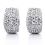 4.03 Cts Round Cut Diamond Hoop Pave Earrings 18K White Gold