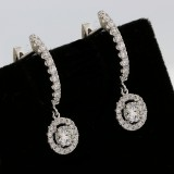 Dangly Earings Round Cut total 1.64 cts set in 18k white gold