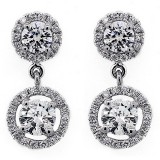Hanging Two Stone Round Cut Halo Diamond Earring .98 Cts Set in 18K White Gold