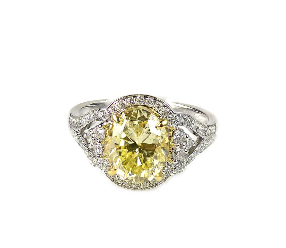3 82 Ct 18K White Gold Oval Cut Fancy Yellow Diamond Engagement Ring Settin