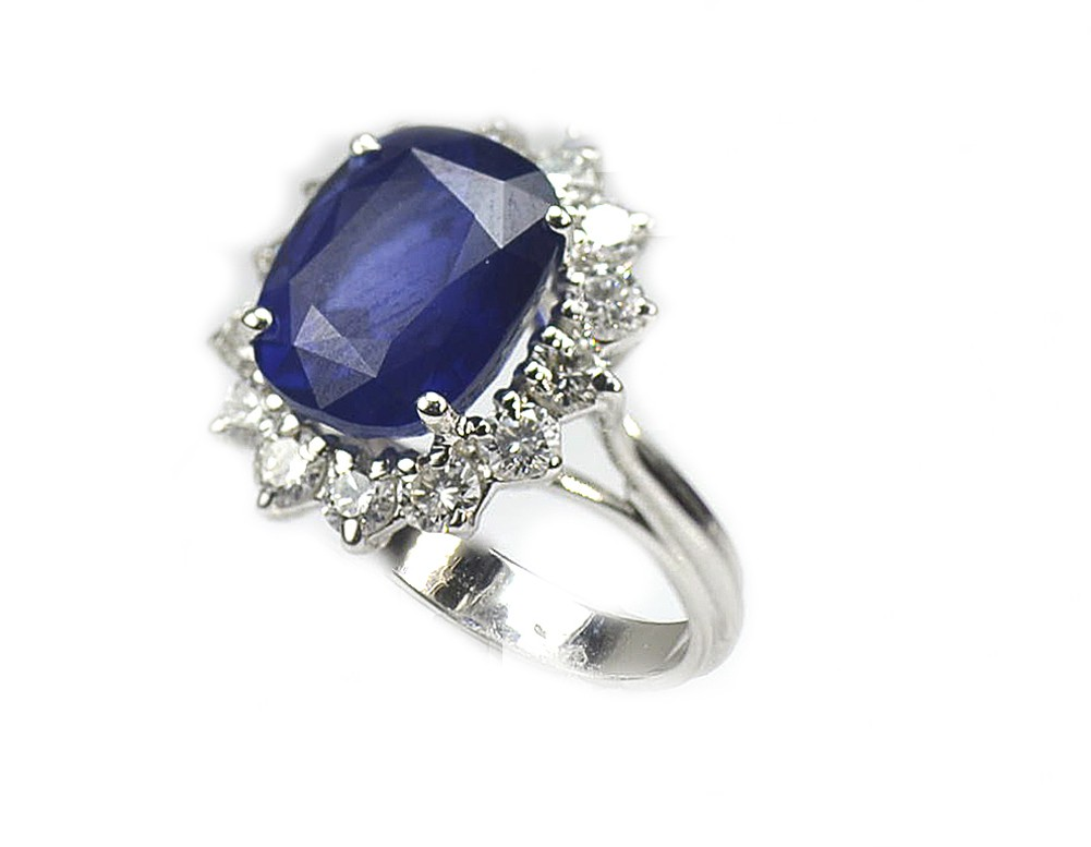 10 69 Ct Blue Sapphire And Diamond Engagement Ring 18k
