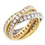3.90 CTS TRINITY ETERNITY DIAMOND RING SET IN 14K PINK YELLOW WHITE GOLD