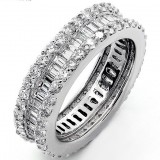3.72 Platinum Eternity Diamond Band in Combination of Baguette and Round Cut Diamonds