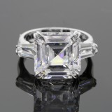 12.02ctw Asscher/Emerald Cut Diamond PLATINUM Ring