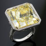 42.22 CTS FANSY YELLOW RADIANT CUT DIAMOND RING
