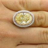 11.7 CTS LIGHT FANCY YELOW OVAL CUT DIAMOND ENGAGEMENT RING