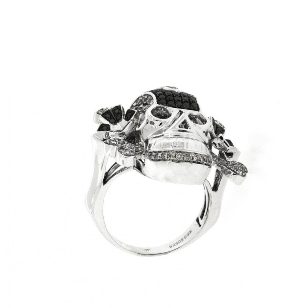 Men s Black and White Diamonds Skull Ring Cheap Diamond Engagement Rings