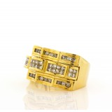 Men's Yellow Gold and Invisible Set Diamond Ring