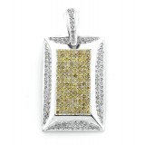 14Kt White Gold Fancy Diamond Dog Tag Pendant