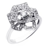 0.67 CTS DIAMOND FLOWER DESIGN COCKTAIL RING SET IN 14K WHITE GOLD