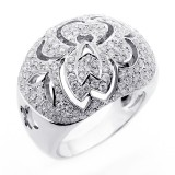 2.11 CTS DIAMOND COCKTAIL RING WITH FLORAL DESIGN SET IN 14 K WHITE GOLD