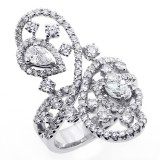 2.27 CTS UNIQUE DESIGN BIG DIAMOND COCKTAIL RING SET IN 18K WHITE GOLD