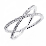 0.28 CTS ROUND CUT DIAMOND FANCY RING SET IN 14K WHITE GOLD