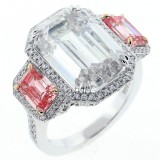 13.13ctw Emerald Cut Diamond Halo PLATINUM Ring