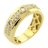 0.76 Cts Diamond Mens Ring set in 14K Yellow Gold