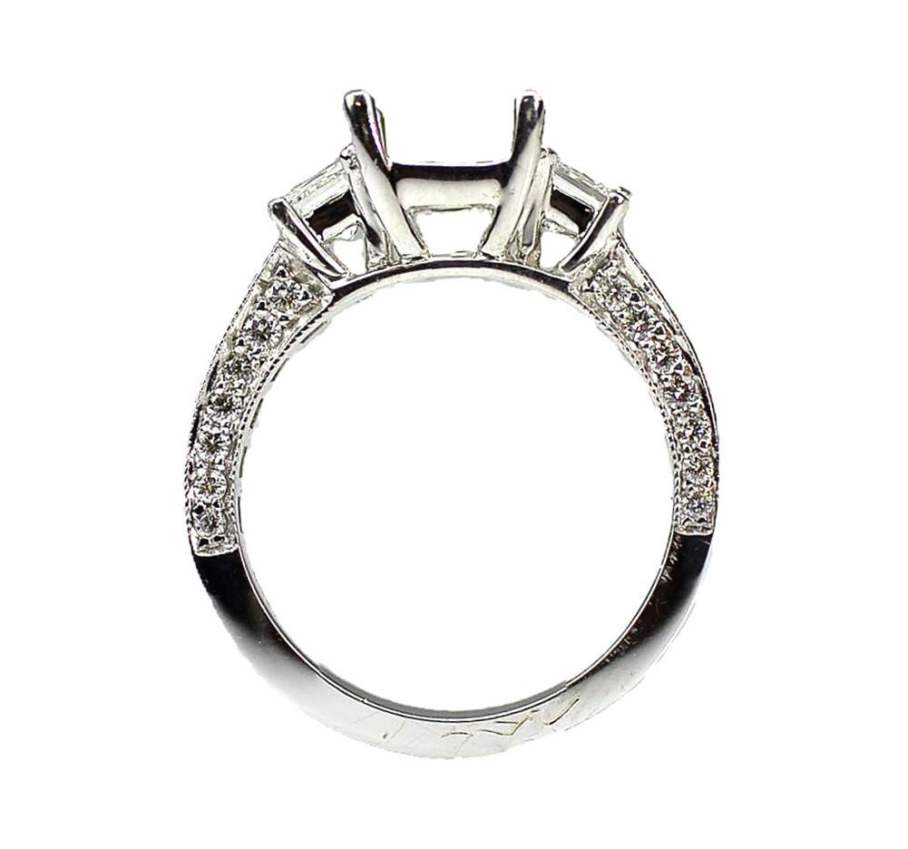 1 92 Cts Three Stone Princess Cut Diamond Engagement Ring Cheap Diamond Enga