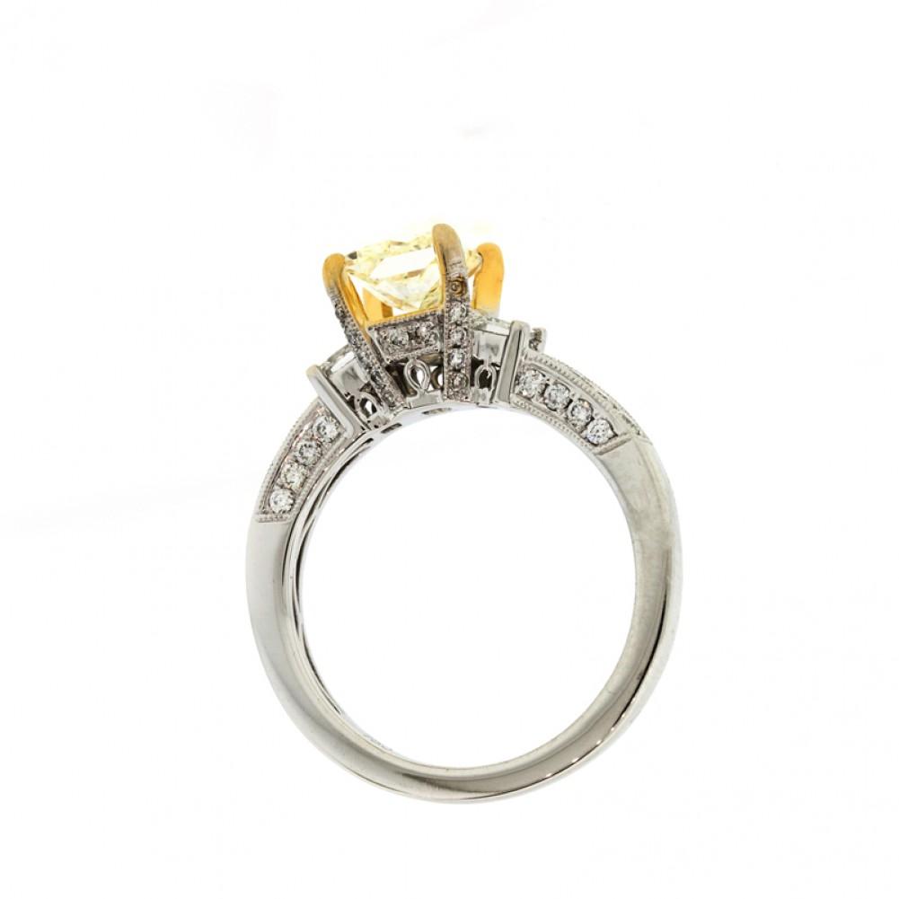 01CT Fancy Yellow Princess Cut Diamond Engagement Ring