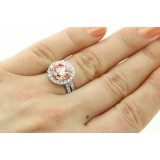 5.20 CTS ROUND CUT FANCY PINC DIAMOND ENGAGEMENT RING SET IN 18 K WHITE GOLD