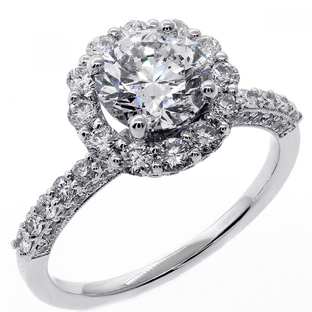 2 66 Cts Round Cut Diamond Halo Engagement Ring set in 18K White Gold Cheap D