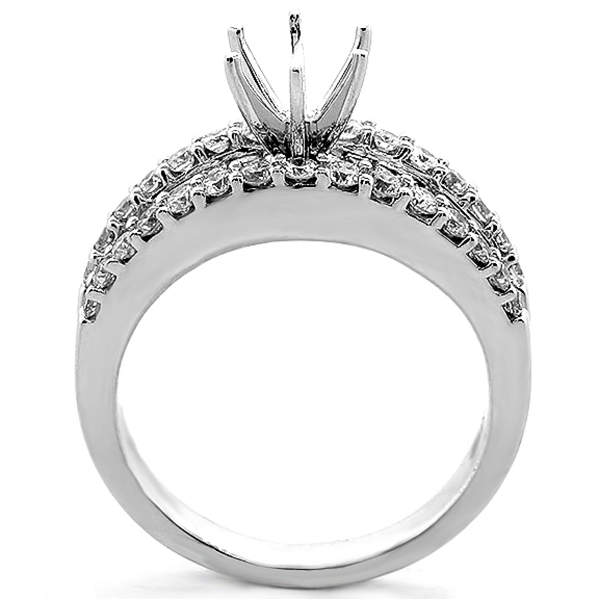 1.36 Cts Baguette and Round Cut Diamond Engagement Ring ...