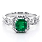 1.38ctw Cushion Cut Emerald & Diamond Halo Ring 18K White Gold
