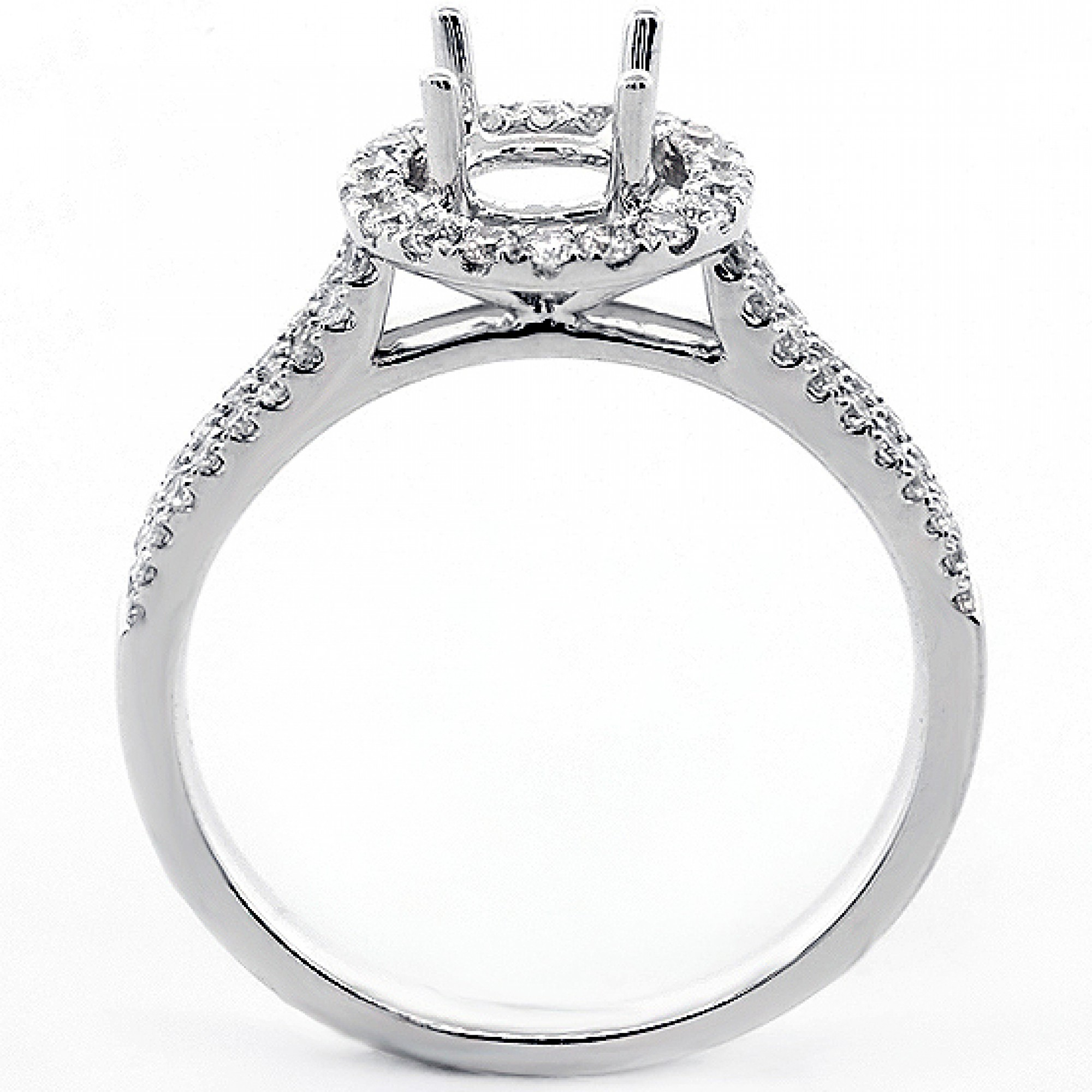 0.43 Cts Round Cut Diamond Halo Engagement Ring Setting ...