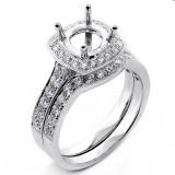 0.93 Cts Bridal Diamond Cushion Halo Engagement Ring Set 18K White Gold