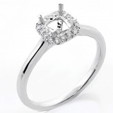 0.14 Cts Round Cut Diamond Engagement Ring setting set in 18K White Gold