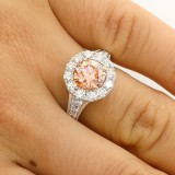 3.68 CTS ROUND CUT  FANCY PINC ENGAGEMENT RING SET IN PLATINUM