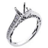 0.28 Cts Diamond  Vintage Engagement Ring Setting set in 18K white gold