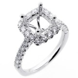 0.80 Cts Diamond Halo Engagement Ring Setting set in 18K white gold