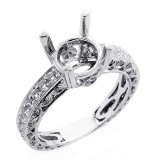 0.80 Cts Vintage Diam0ond Engagement Ring Setting set in 18K white gold