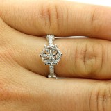 0.29 CTS VINTAGE DIAMOND ENGAGEMENT RING SET IN 18K WHITE GOLD