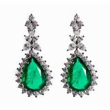 10.71CT Emerald and Diamond Drop Earrings