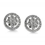 Diamond Cluster Stud Earrings 1.72CT TW