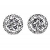 Diamond Cluster Stud Earrings 2.12CT TW