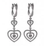 3 Tier Heart Diamond Dangle Earrings 1.32CT TW
