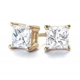 1 3/4Ct tw  Princess  Diamond Stud Earrings 14Kt Yellow Gold